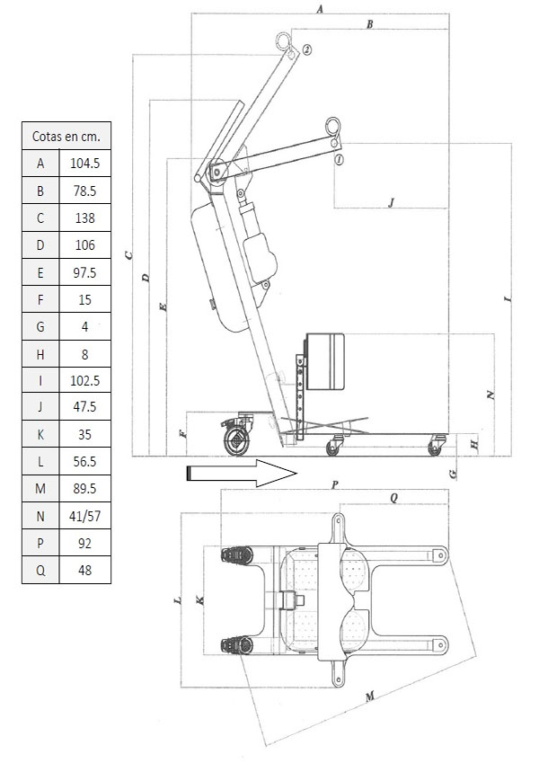 dimensiones grúa de bipedestación powerlift up