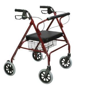 andador de cuatro ruedas y asiento