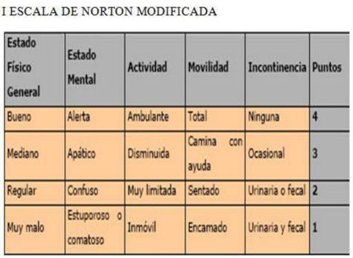 Escala de Norton- Riesgo de padecer escaras